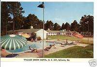 SYLVANIA GEORGIA GA VILLAGE GREEN MOTEL POOL  POSTCARD