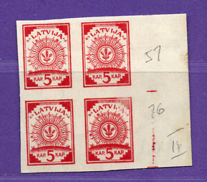 LATVIA LETTLAND MAP BLOCK OF 4 STAMPS 5 kop. Sc. 1 1918s  580