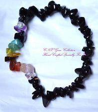Gemstone Crystal Chip Stone Black Obsidian Strechy Chakra Bracelet Scorpio