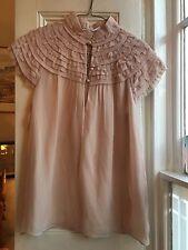 Cute Dusky Pink Ruffle Shoulder Cap Sleeve Blouse DVF