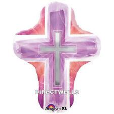 "Baptism/Communion Jumbo Foil / Mylar Pink Balloon Cross Shape 28"""