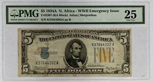 1934A PMG $5 Silver Certificate North Africa Emergency Issue Very Fine VF25