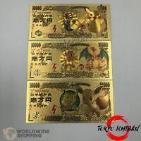 3 Cartes Billets Pokemon Evoli Dracaufeu Pikachu 10000 Yen Gold Card / Banknote