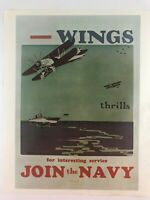 Vintage United States Navy Recruitment Poster Wings Thrills Join The Navy