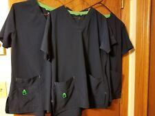 Carhartt Womens M Navy Blue Scrub Uniform Top 94% Poly/6% Spandex Lot Of 3 Shirt
