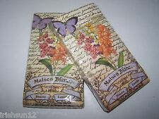 2 Paris Maison Blanc Flowers Butterfly NAPKINS-32 Paper Guest Towels-Decoupage