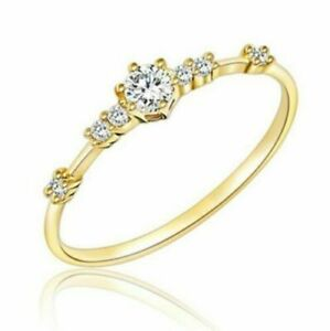 Simple 18K Gold Filled White Sapphire Ring Wedding Bridal Women Jewelry Size 10