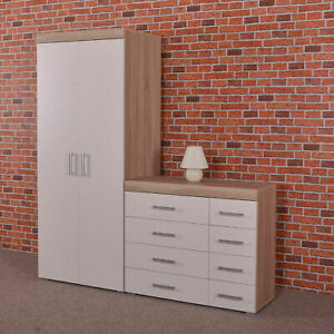 2 Door Wardrobe & 4+4 Chest of Drawers in White & Sonoma Oak Bedroom Furniture 8