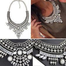 Women Fashion Jewelry Silver Pendant Chain Crystal Choker Statement Bib Necklace