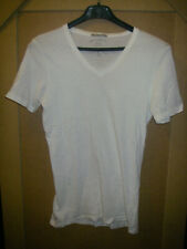 2 T-shirt BERSHKA BLANC NOIR BLACK WHITE col V neck Taille size Small