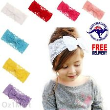 """7 Colors 4"""" Baby Lace Bows Headband HairBand Head Wrap Toddler Girls Christening"""