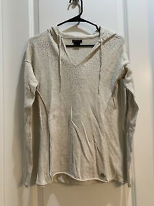 Calvin Klein Women's Hoodie Sweater Silver Sparkle In Front Size Small