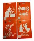 Stencil House Halloween 4 pack Ghost Happy Haunting Eeeek Skeleton Spider Witch
