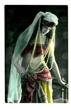 Vintage Postcard BELLY DANCER Made in Germany Photo risque beautiful woman beads