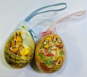 Two Easter Paper Decoupage Mache Egg Ornaments 2.5""
