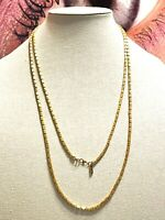 """VINTAGE 54"""" LONG MONET PATENTED BAMBOO ETCHED GOLD TONE TUBE BEAD CHAIN NECKLACE"""