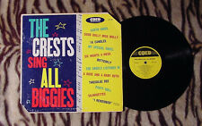 THE CRESTS SING ALL THE BIGGIES 1960 1ST PRESSING COED YELLOW LABEL LPC-901 $400