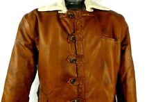 Seduka Villain Mens Faux Leather Sherpa Jacket Coat RP7068 - Brown/Cream | XL