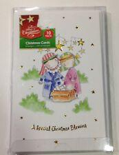 1 x 10pk Cute Religious Christmas Cards 2 Designs BN