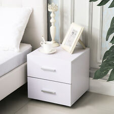 2 Drawer Nightstand Bedside Cabinet End Table Bedroom Furniture Storage in White