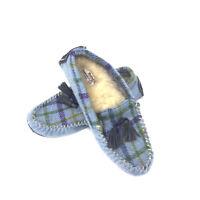 Bedroom Athletics - ZARA - Women's Harris Tweed Slippers - Lilac/Blue Check