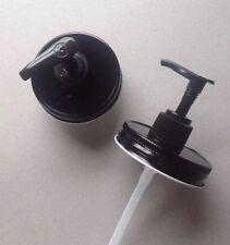 2 QUART Size Mason Jar Soap/Lotion Dispenser Lids w/ Pumps.  All Black. 2 New