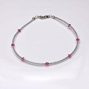 Pink Rose Swarovski Crystal Elements and Clear Seedbead Anklet