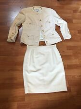 One Of A Kind Chanel Boutique White Tweed Suit Size 42