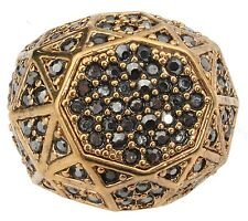 Zest Golden Signet Ring with Swarovski Crystals Dark Grey Size Medium UK L US 6