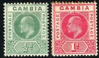 Gambia 1904 green 1/2d carmine 1d watermark multi-crown CA mint SG57/58