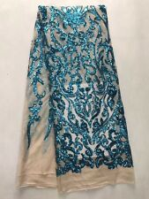 Bridal Wedding Teal Sequin Embroidery Embroidered Mesh Net Lace Fabric BTY