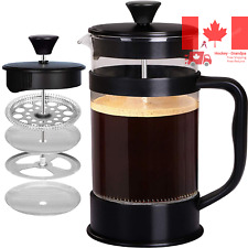 French Coffee Press Black - 34 oz Espresso and Tea Maker with Triple Filters ...