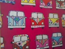 100% cotton campervan cerise patchwork, craft ,remnant, material,fabric FQ