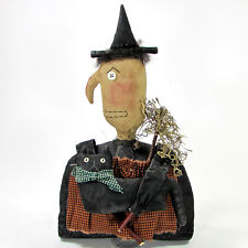 "WITCH & BLACK CAT 13"" Doll Figurine Halloween Canvas Primitive Folk Art"