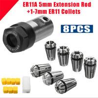 7Pcs ER11 1-7mm Spring Collets with ER11A 5mm Motor Shaft Holder Extension Rod