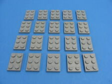 20x LEGO Old Light Gray Standard Plates 2 x 3 Classic Space Castles #3021
