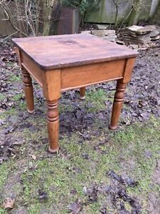 Vintage Wooden Farmhouse Square Kitchen Table Turned Legs Retro #L
