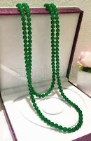 Fashion Women's Natural 8mm Green Jade Round Gemstone Beads Necklace 51'' Long