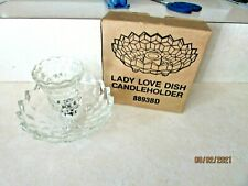 Homco Glass Three-Toed Lady Love Dish Candle Holder Base & Votive Cup