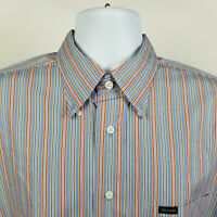 Faconnable Blue Yellow Red Striped Mens Dress Button Shirt Size Large L