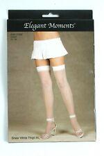 Elegant Moments Women's 1x - 3x White Sheer Thigh High Hi Stockings Hosiery