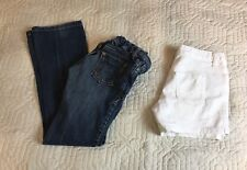 Old Navy Low Rise Boot Cut Stretch Blue jeans White Shorts Girls Sz 10 Lot Of 2