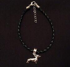 Gorgeous Silver Tone Dachshund/Sausage Dog Charm On Black Bracelet, Gift
