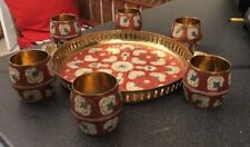 Vtg Handled Brass Tray Beakers Cups Gilt Red White Enamel Islamic Indian Kashmir