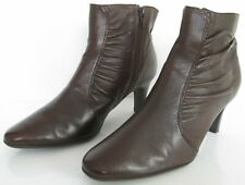 M&S WIDER FIT FOOTGLOVE SIZE 5 38 WOMENS BROWN LEATHER ANKLE BOOTS BOOTIES HEELS