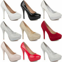 LADIES BRIDAL BRIDESMAID COURT SHOES SATIN WOMENS WEDDING PROM HIGH HEELS SIZE