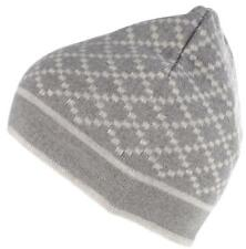 NEW GUCCI LIGHT GRAY SIGNATURE DIAMOND PRINT SOFT WOOL BEANIE HAT UNISEX