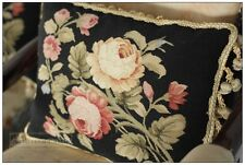 BLACK PINK Aubusson Pillow Shabby French Chic Rose Floral 16X12 Cushion Cover