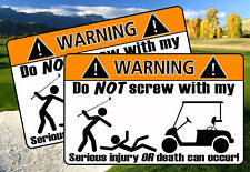 Funny Golf Club Cart WARNING sticker decal EZ GO