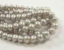 6 mm Potato Freshwater Pearl Beads Olive Green,Silver Gray OR Purple Color(#646)